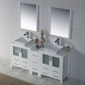 "Sydney Modern 72"" Double Bathroom Vanity Set with Vessel Sinks and Mirrors Glossy White"