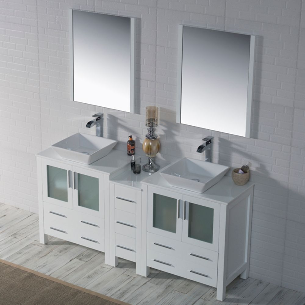 """Sydney Modern 72"""" Double Bathroom Vanity Set with Vessel Sinks and Mirrors Glossy White"""