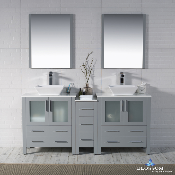 "Sydney Modern 72"" Double Bathroom Vanity Set with Vessel Sinks and Mirrors Metal Gray"