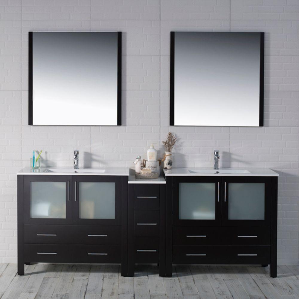 "Sydney Modern 84"" Double Bathroom Vanity Set with Mirrors Espresso"