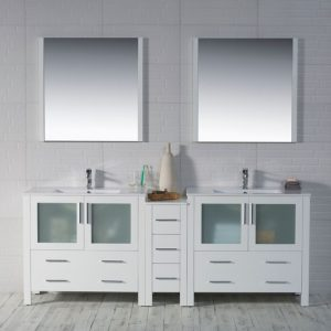 "Sydney Modern 84"" Double Bathroom Vanity Set with Mirrors Glossy White"