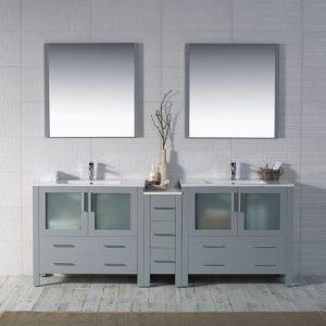 "Sydney Modern 84"" Double Bathroom Vanity Set with Mirrors Metal Gray"