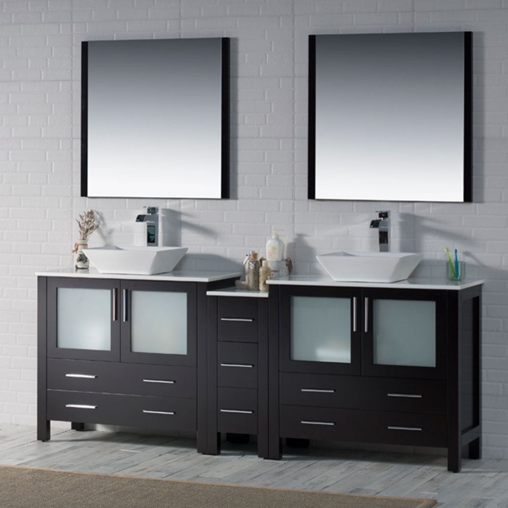 "Sydney Modern 84"" Double Bathroom Vanity Set with Vessel Sinks and Mirrors Espresso"