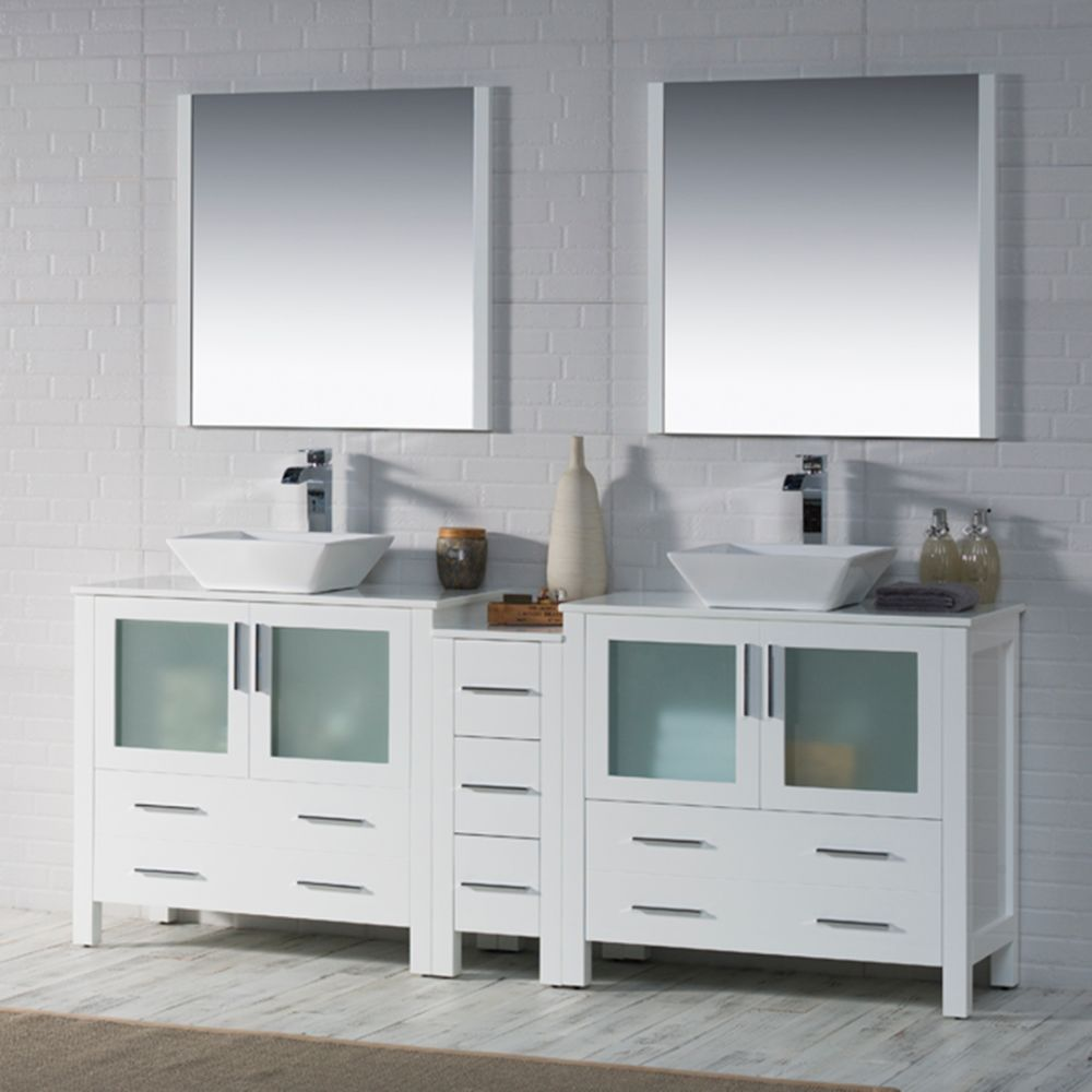 """Sydney Modern 84"""" Double Bathroom Vanity Set with Vessel Sinks and Mirrors Glossy White"""