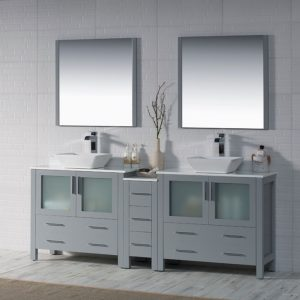 """Sydney Modern 84"""" Double Bathroom Vanity Set with Vessel Sinks and Mirrors Metal Gray"""