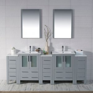 "Sydney Modern 84"" Bathroom Vanity Set with Double Side Cabinets Metal Gray"