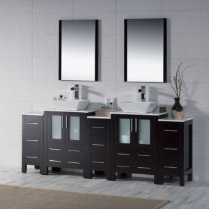 "Sydney Modern 84"" Bathroom Vanity Set with Vessel Sink and Double Side Cabinets Espresso"