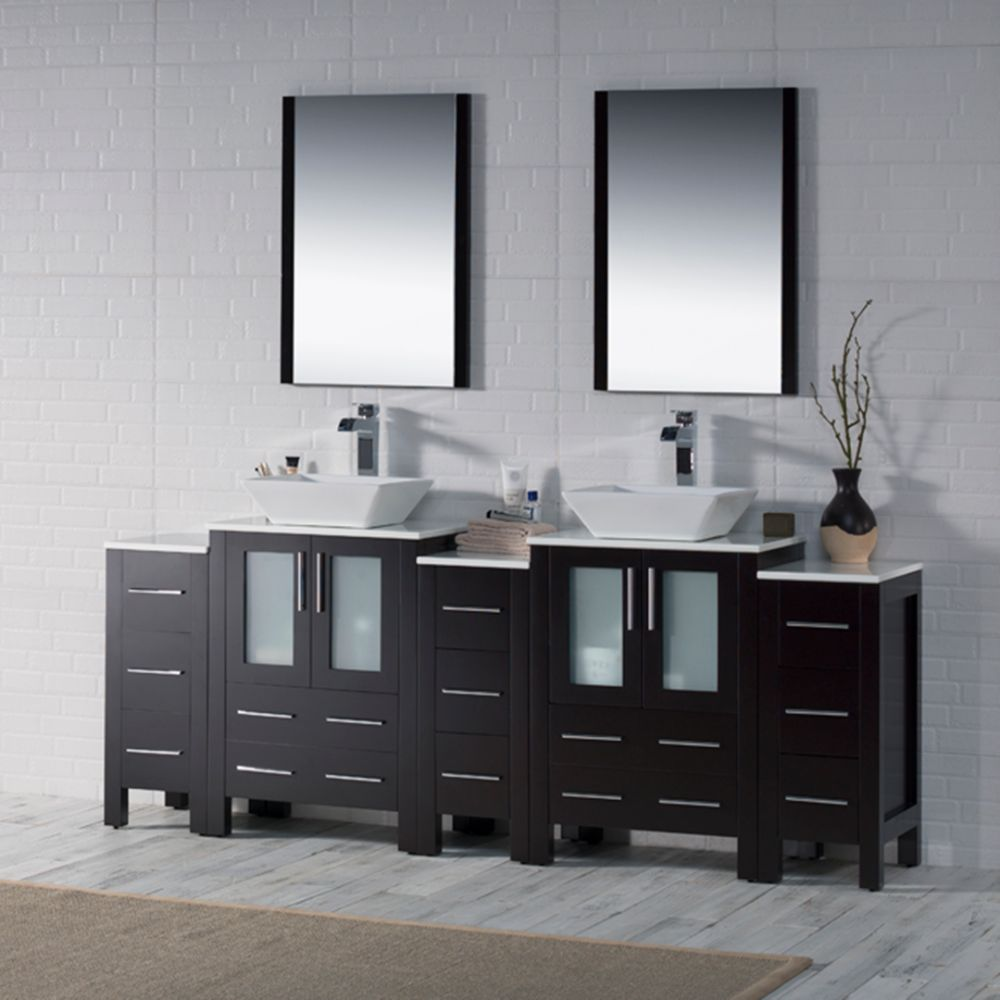 """Sydney Modern 84"""" Bathroom Vanity Set with Vessel Sink and Double Side Cabinets Espresso"""