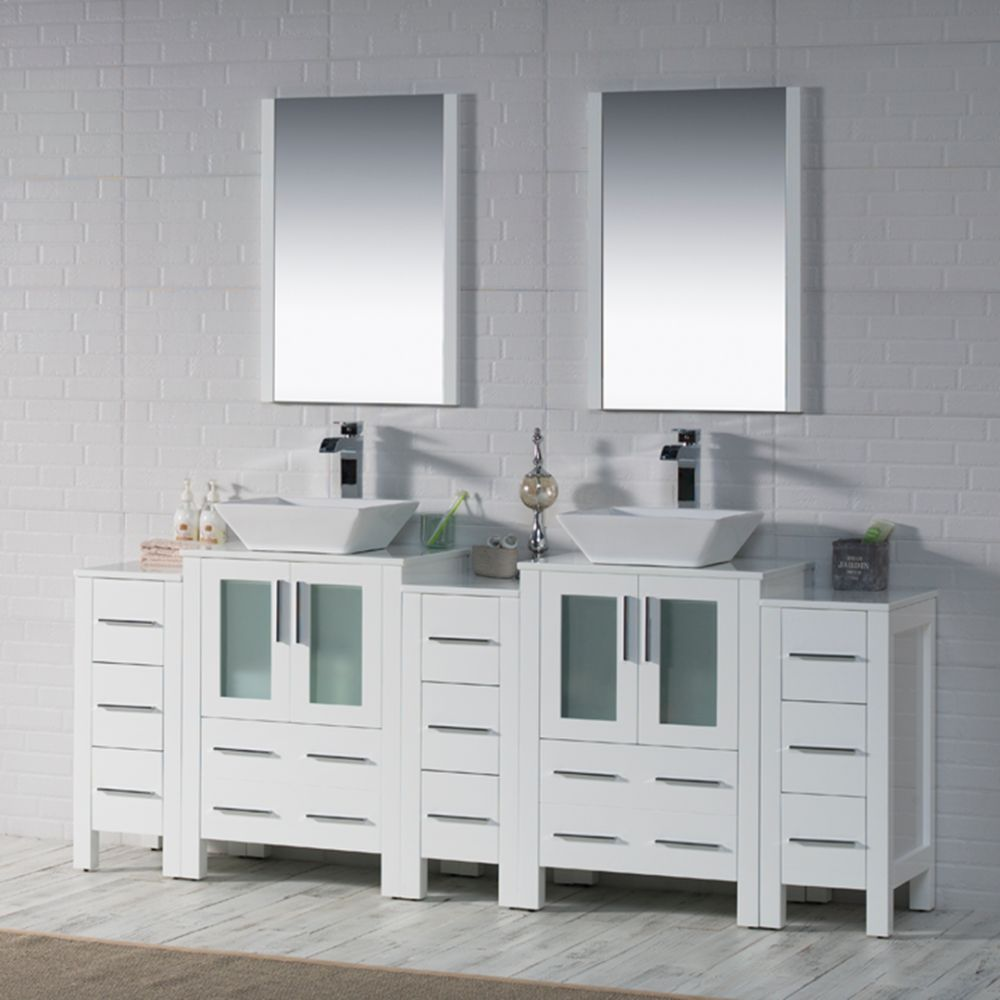 """Sydney Modern 84"""" Bathroom Vanity Set with Vessel Sink and Double Side Cabinets White"""