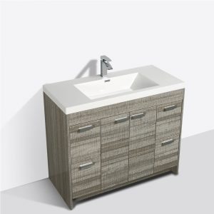 Eviva Lugano 42 In. Ash Modern Bathroom Vanity With White Integrated Acrylic Sink