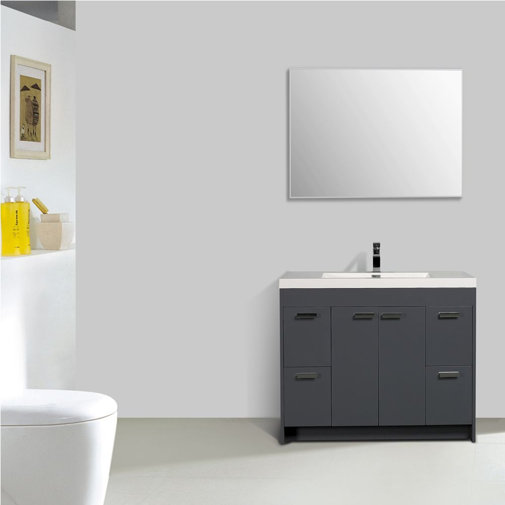 Eviva Lugano 42 In. Gray Modern Bathroom Vanity With White Integrated Acrylic Sink