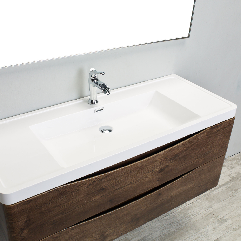 Eviva Smile 48 in. Wall Mount Rosewood Modern Single Bathroom Vanity Set with Integrated White Acrylic Sink