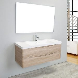 Eviva Smile 48 in.  Wall Mount White Oak Modern Single Bathroom Vanity Set with Integrated White Acrylic Sink