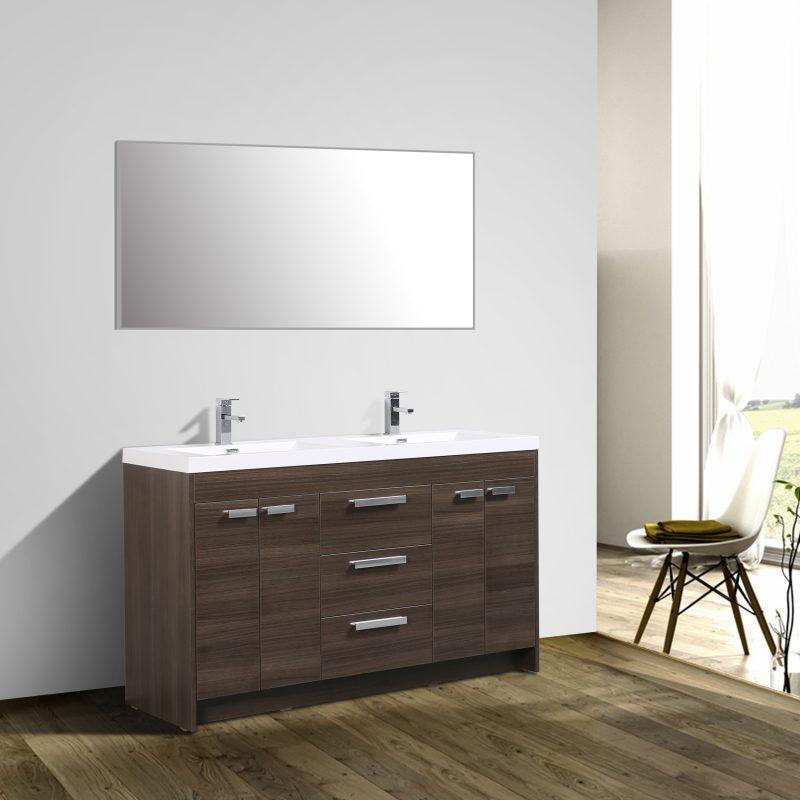 Eviva Lugano 60 In. Grey Oak Modern Bathroom Vanity With White Integrated Acrylic Double Sink