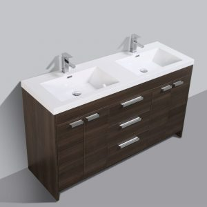 Eviva Lugano 60 In. Grey Oak Modern Bathroom Vanity With White Integrated Acrylic Double Sink
