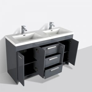 Eviva Lugano 60 In. Gray Modern Double Bathroom Vanity With White Integrated Acrylic Sink