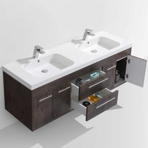 Eviva Lugano 60 In. Rosewood Modern Wall Mount Double Bathroom Vanity With White Integrated Acrylic Sink
