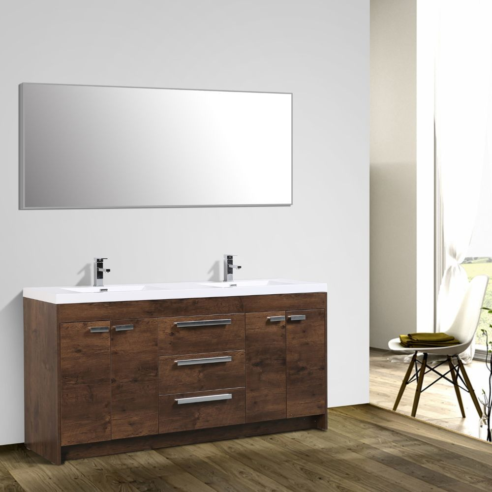 Eviva Lugano 60 In. Rosewood Modern Double Bathroom Vanity With White Integrated Acrylic Sink