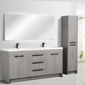 Eviva Lugano 72 In. Cement Gray Modern Double Bathroom Vanity With White Integrated Acrylic Sink