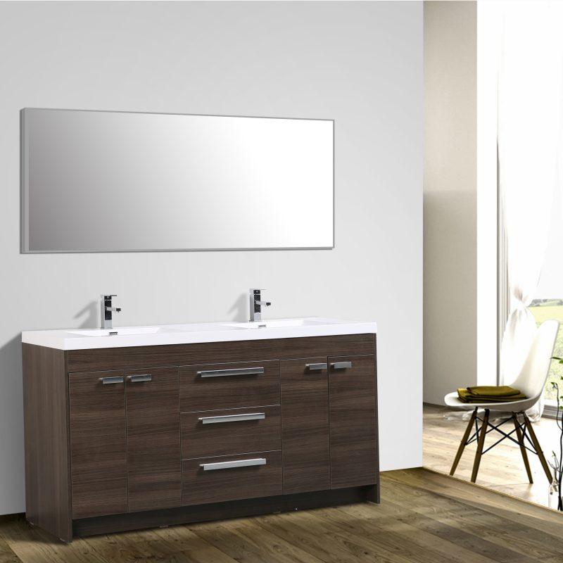 Eviva Lugano 72 In. Grey Oak Modern Bathroom Vanity With White Integrated Acrylic Double Sink