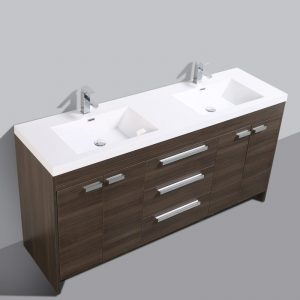 Eviva Lugano 72 In. Grey Oak Modern Bathroom Vanity With White Integrated Acrylic Double Sink