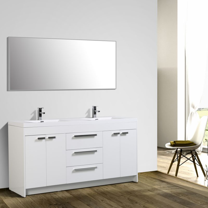 Eviva Lugano 72 In. White Modern Bathroom Vanity With White Integrated Acrylic Double Sink