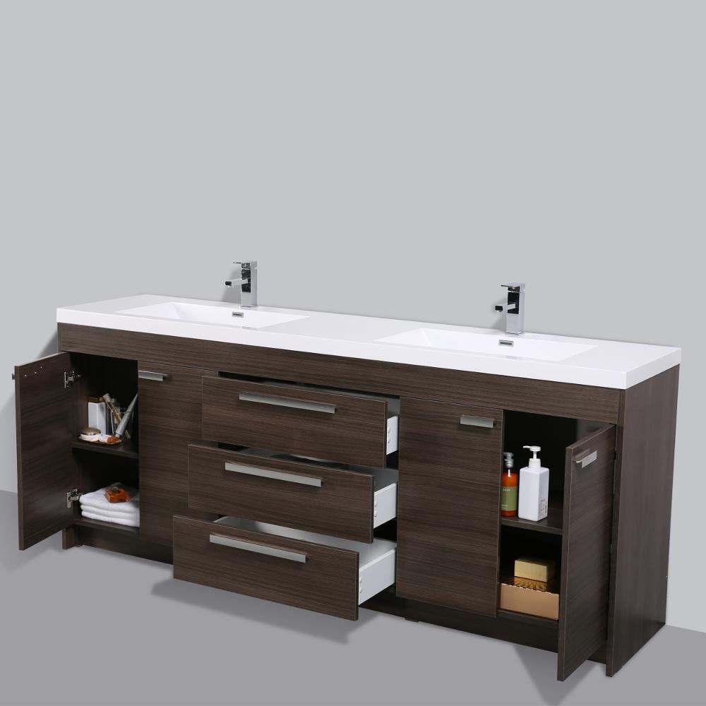 Eviva Lugano 84 In. Grey Oak Modern Bathroom Vanity With White Integrated Acrylic Double Sink