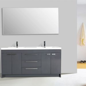 Eviva Lugano 84 In. Gray Modern Double Bathroom Vanity With White Integrated Acrylic Sink
