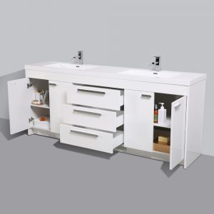 Eviva Lugano 84 In. White Modern Bathroom Vanity With White Integrated Acrylic Double Sink