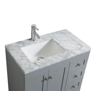 Eviva Happy 30 in. X 18 in. Transitional Grey Bathroom Vanity With White Carrera Marble Countertop
