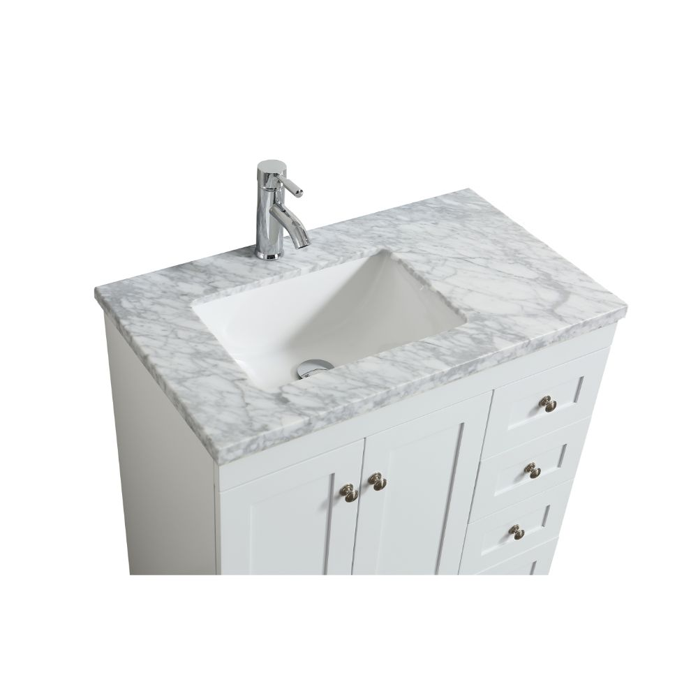 Eviva Happy 30 in. X 18 in. Transitional White Bathroom Vanity With White Carrera Marble Countertop