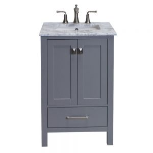 Eviva Aberdeen 24 In. Transitional Grey Bathroom Vanity With White Carrera Countertop