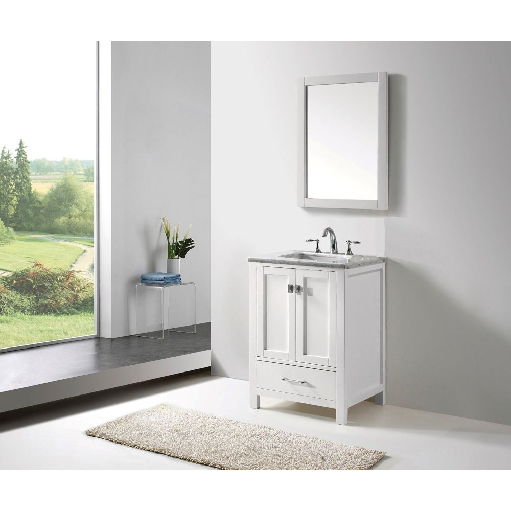 Eviva Aberdeen 24 In. Transitional White Bathroom Vanity With White Carrera Countertop