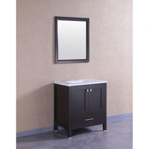 Eviva Aberdeen 30 In. Transitional Espresso Bathroom Vanity With White Carrera Countertop