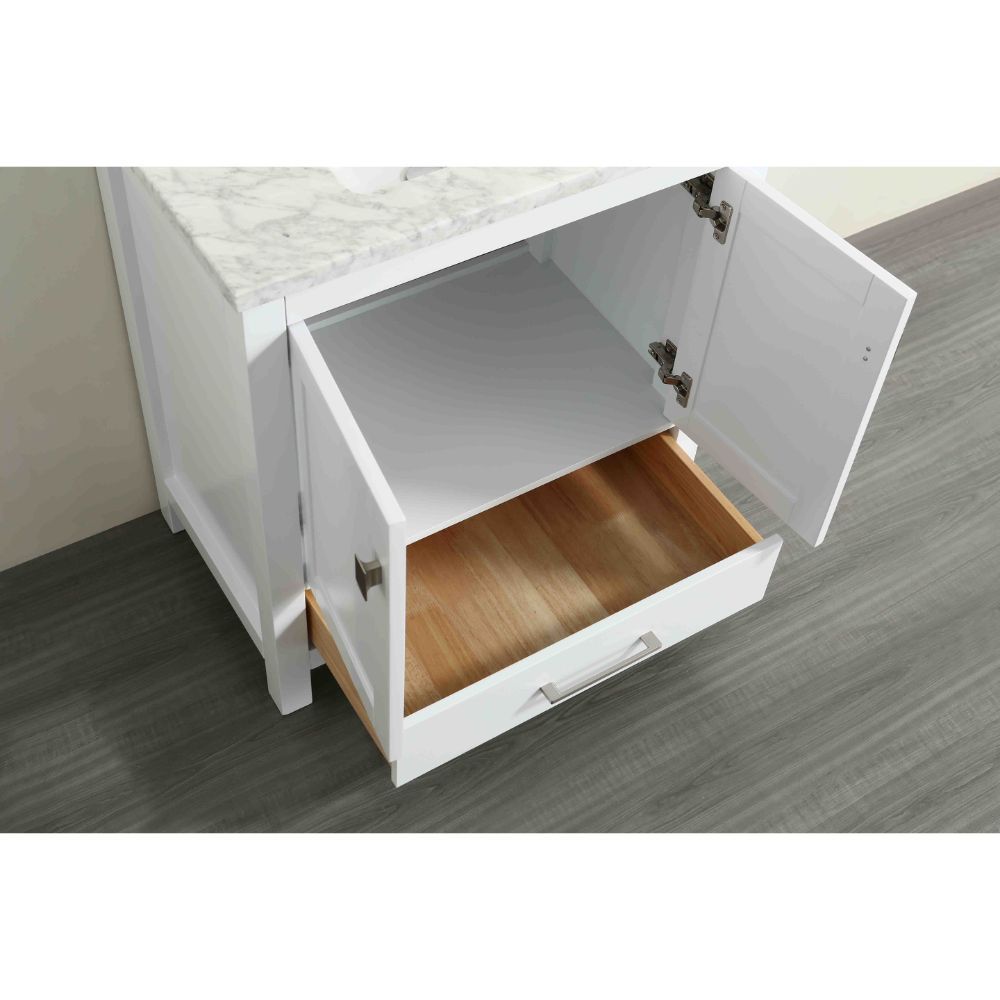 Eviva Aberdeen 30 In. Transitional White Bathroom Vanity With White Carrera Countertop