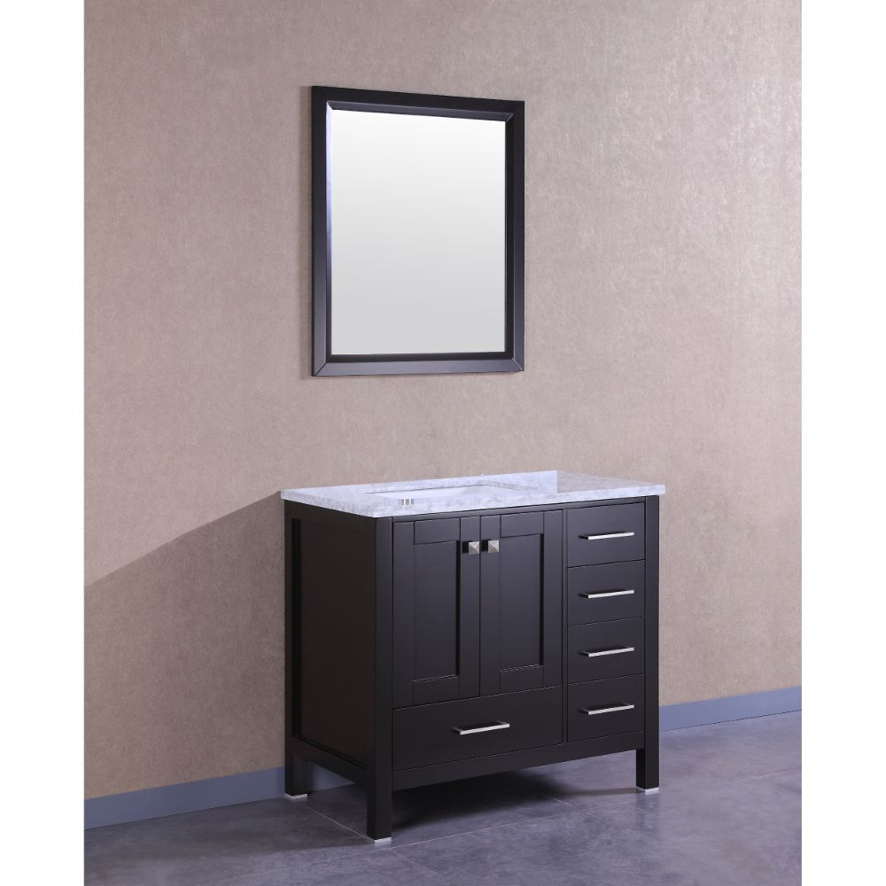 Eviva Aberdeen 36 In. Transitional Espresso Bathroom Vanity With White Carrera Countertop