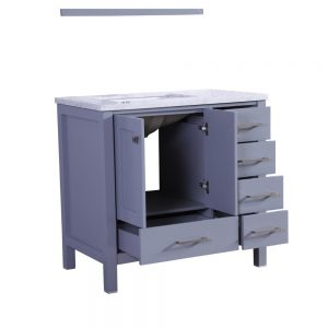 Eviva Aberdeen 36 In. Transitional Grey Bathroom Vanity With White Carrera Countertop and Square Sink