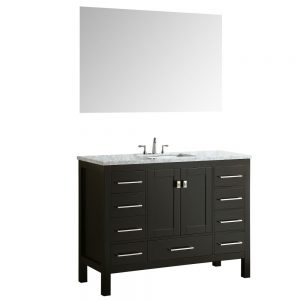 Eviva Aberdeen 42 In. Transitional Espresso Bathroom Vanity With White Carrera Countertop