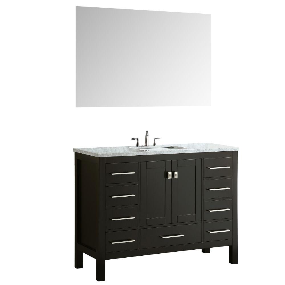 Eviva Aberdeen 42 In. Transitional Espresso Bathroom Vanity With White Carrera Countertop