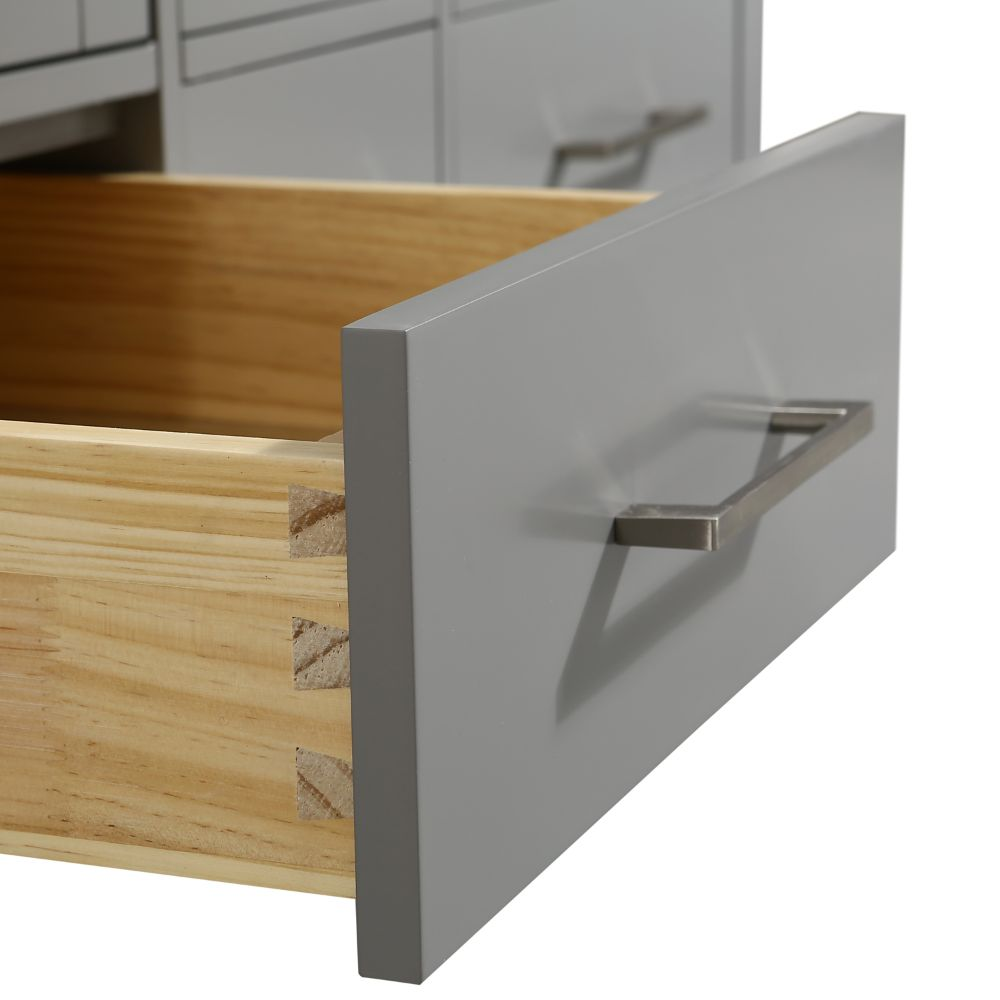 Eviva Aberdeen 48 In. Transitional Gray Double Bathroom Vanity With White Carrera Countertop