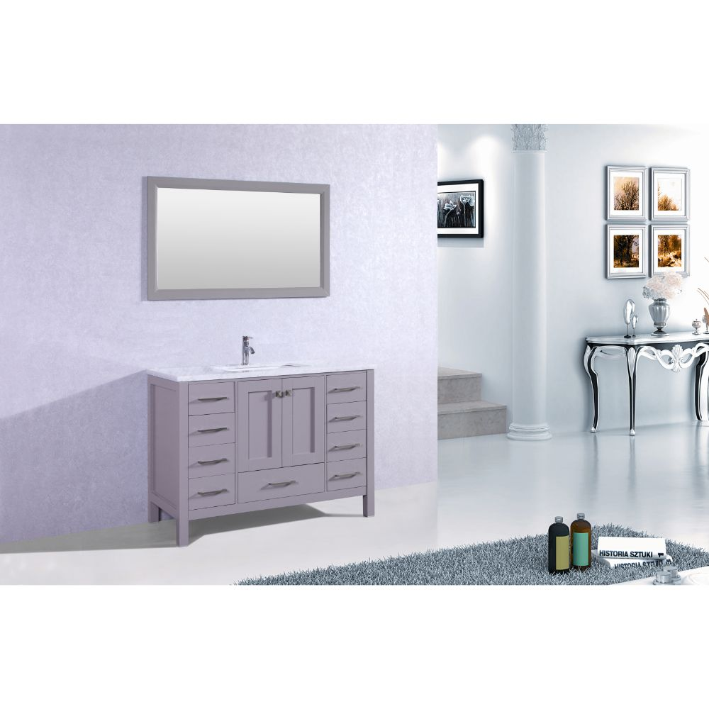 Eviva Aberdeen 48 In. Transitional Grey Bathroom Vanity With White Carrera Countertop and Square Sink