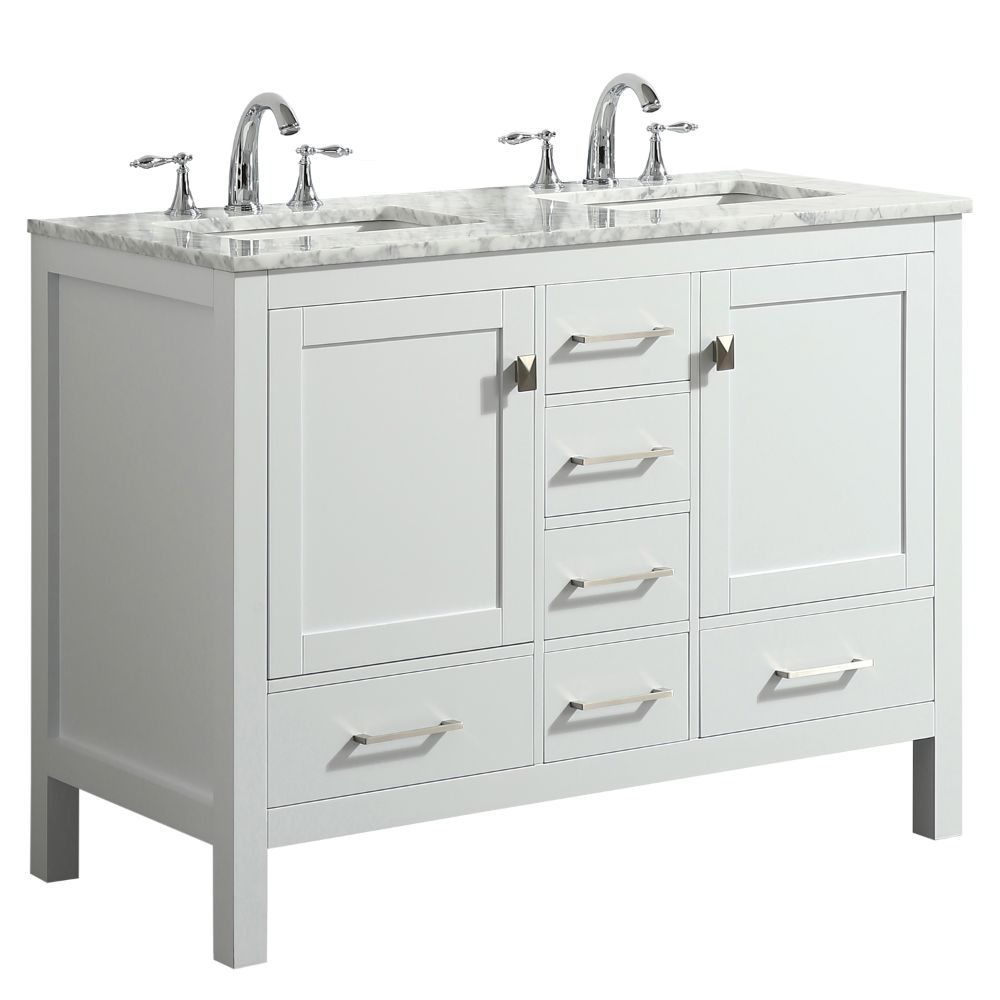 Eviva Aberdeen 48 In. Transitional White Double Bathroom Vanity With White Carrera Countertop
