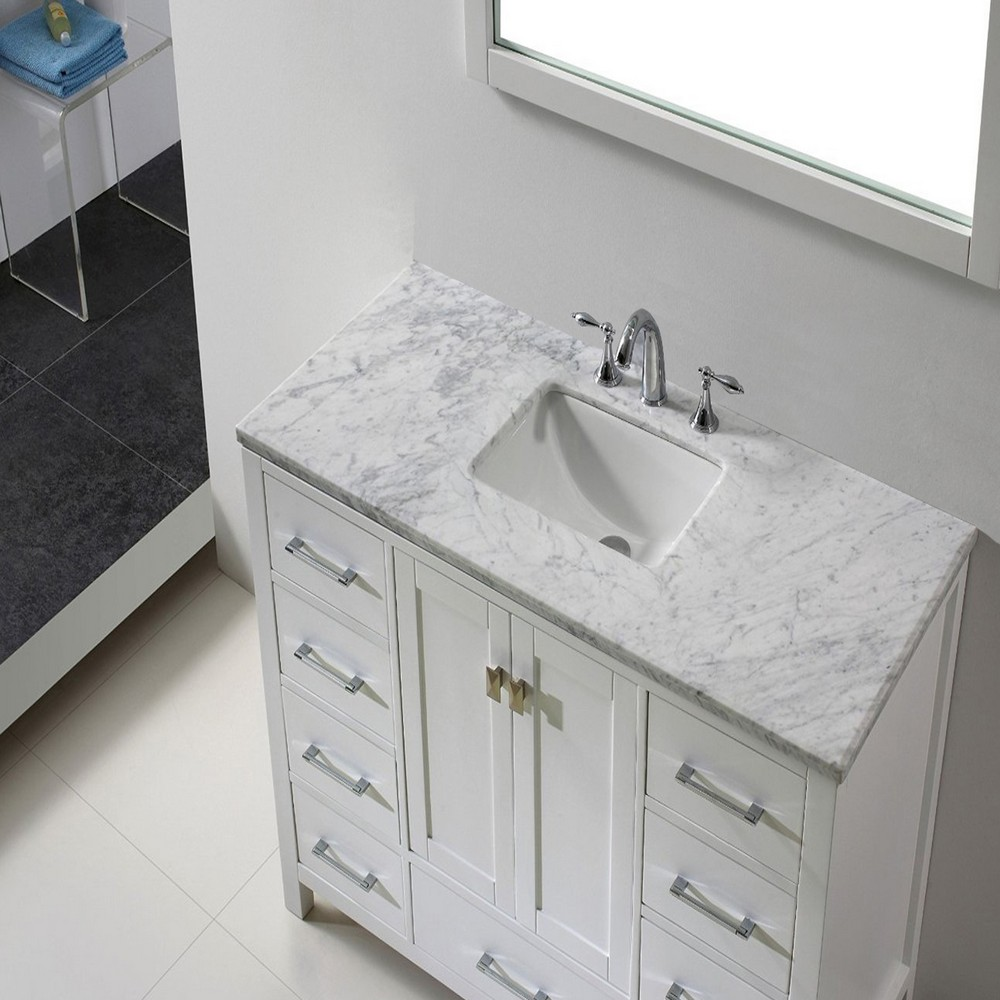 Eviva Aberdeen 48 In. Transitional White Bathroom Vanity With White Carrera Countertop