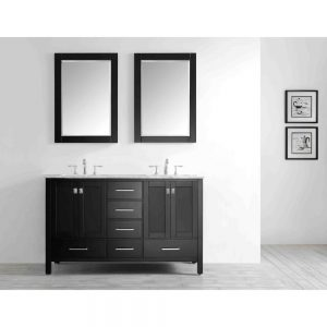 Eviva Aberdeen 60 In. Transitional Espresso Bathroom Vanity With White Carrera Countertop