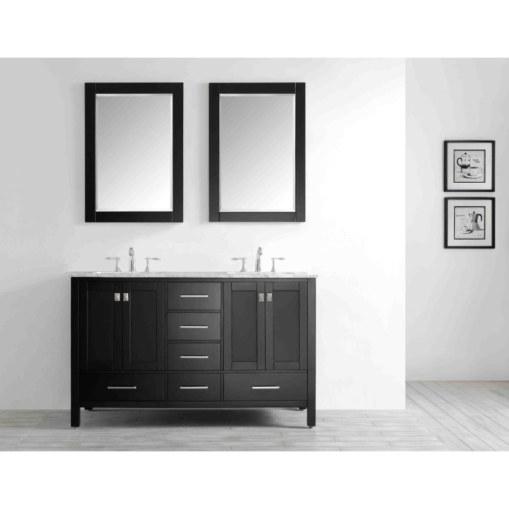 Eviva Aberdeen 60 In. Transitional Espresso Bathroom Vanity With White Carrera Countertop