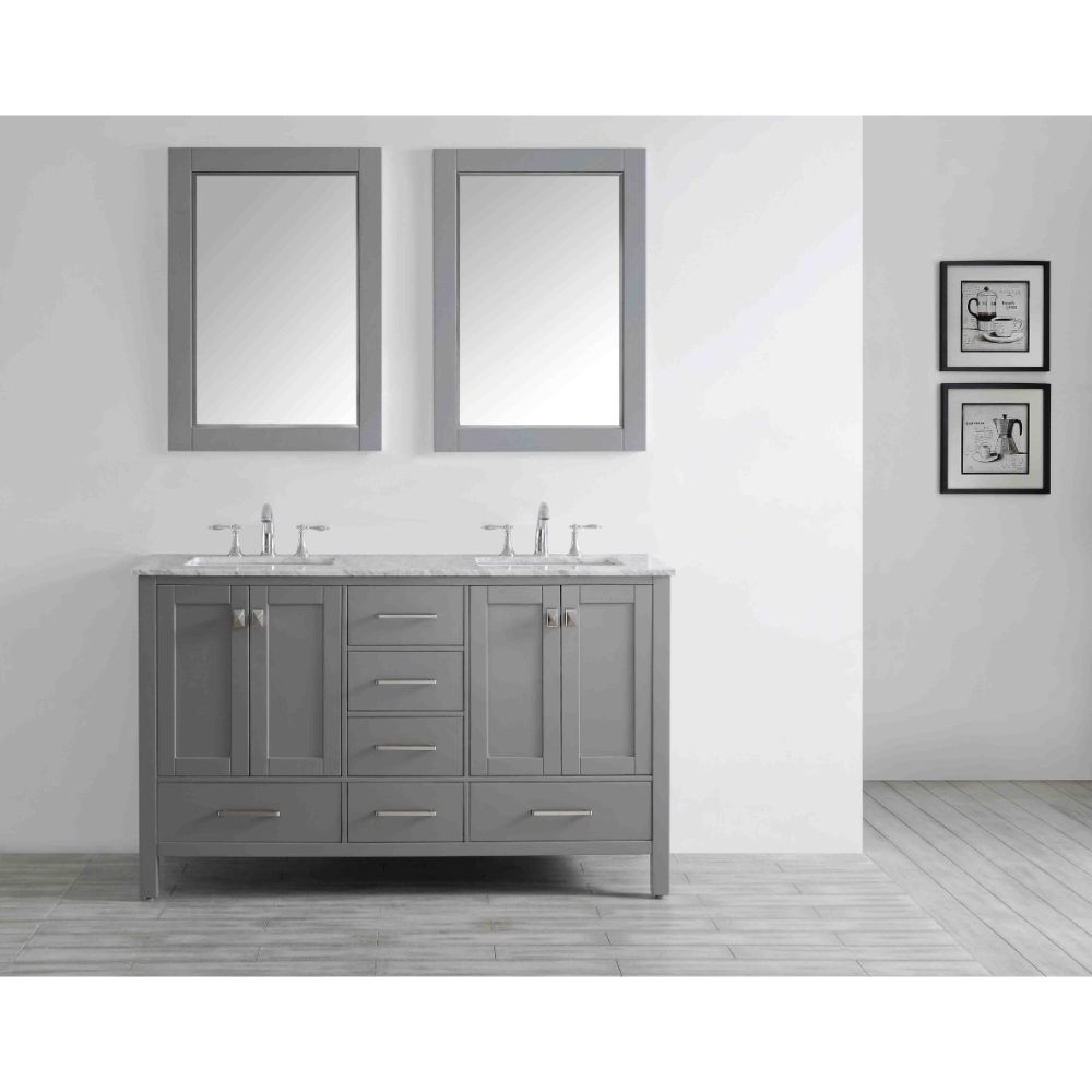 Eviva Aberdeen 60 In. Transitional Grey Bathroom Vanity With White Carrera Countertop and Double Square Sinks