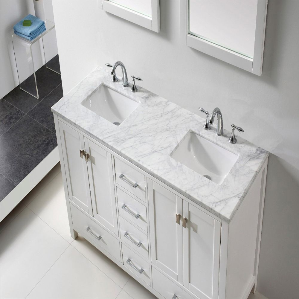 Eviva Aberdeen 60 In. Transitional White Bathroom Vanity With White Carrera Countertop