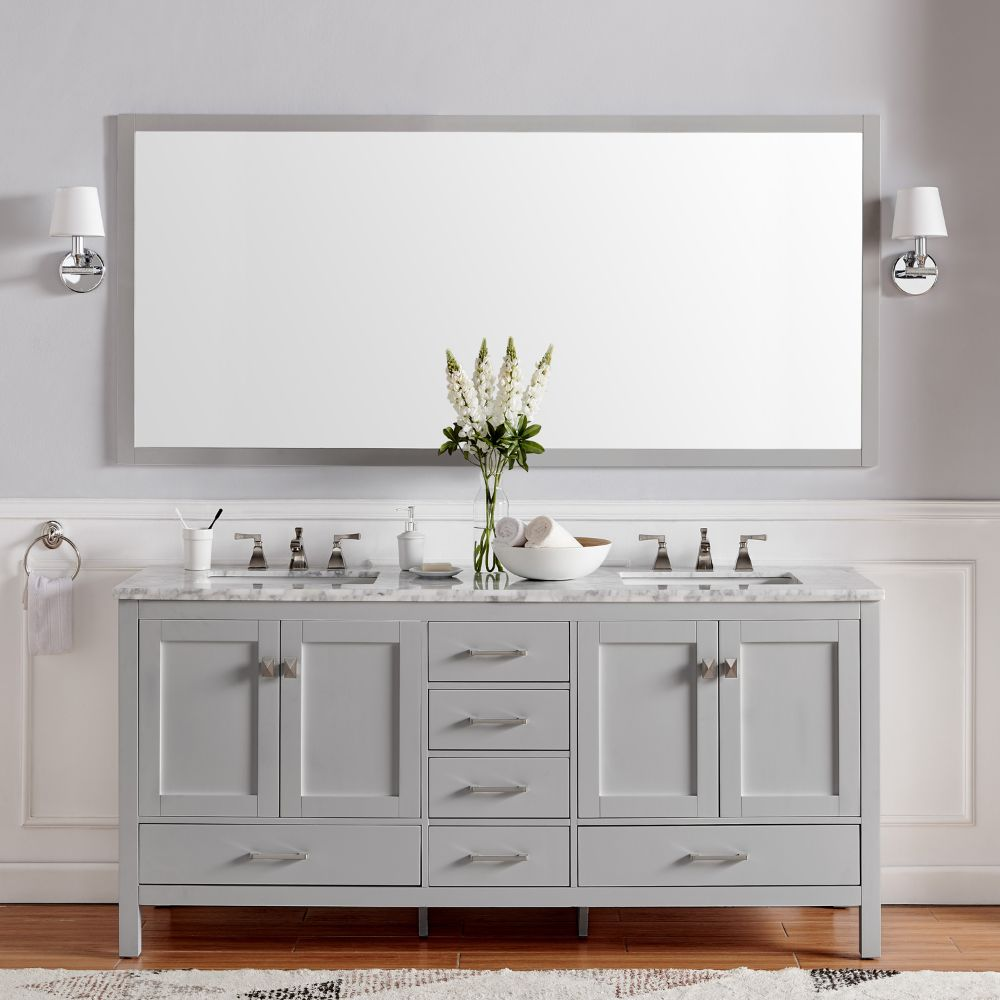 Eviva Aberdeen 72 In. Transitional Grey Bathroom Vanity With White Carrera Countertop and Double Square Sinks