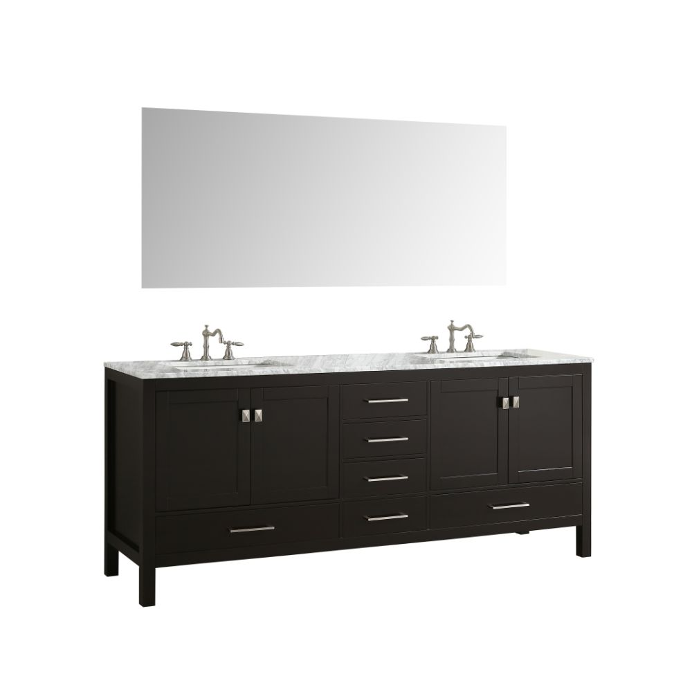 Eviva Aberdeen 84 in. Transitional Espresso Bathroom Vanity With White Carrera Countertop