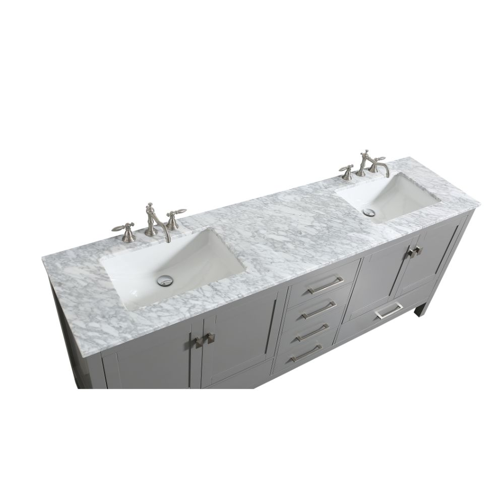 Eviva Aberdeen 84 in. Transitional Grey Bathroom Vanity With White Carrera Countertop